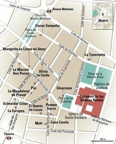 Plano de tiendas y negocios de Las Salesas (Madrid).