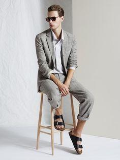 Linen Suit and Black Birkenstocks, by Toast, 2015, Men's Spring Summer Fashion.