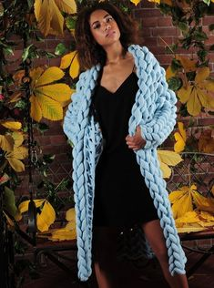 Items similar to Womens knit cardigan.Long knit cardigan with free delivery on Etsy Chunky Knit Cardigan, Blue Cardigan, Cardigans For Women, Coats For Women, Chunky Knitwear, Oversized Grey Sweater, Knitted Coat, Blue Wool, Wool Sweaters