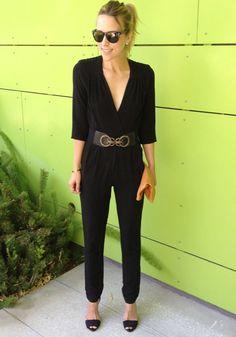 e17481e5419 Love the shoulder details on this black jumpsuit. Black Leather Jeans