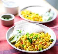 Southwestern Tofu Breakfast Scramble. Try serving with 1/2 cup beans instead of tortillas to boost fiber. (TG)