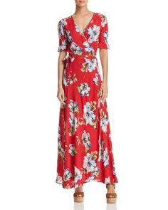Band of Gypsies Blue Moon Floral-Print Wrap Dress | Bloomingdale's