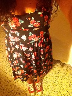Dress, flowers, red converse