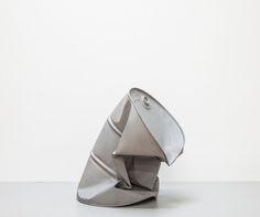 "Dylan Lynch [USA] (b 1987) ~ ""Gray Implosion"", 2013. Sand blasted steel (76.2 x 56 x 56 cm). | #art #sculpture #installation #conceptualart"