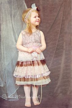 Girls' Pink & Brown Dress With Lace and Tulle Ruffles