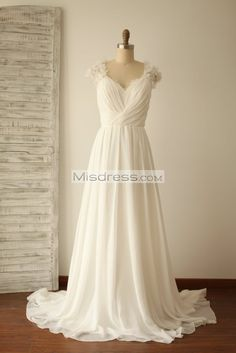 A Line Cap Sleeves Lace Chiffon Wedding Dress With Small Train