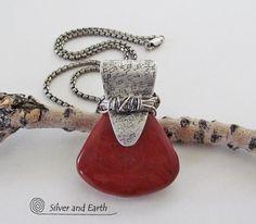 Red Jasper Stone Necklace Sterling Silver by SilverandEarth,