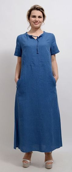 Loose Half Sleeve Dress Women Shift Maxi Dress Ladies Fashion Side Plain Patchwork Button Trim Crew Neck T Shirts Dresses