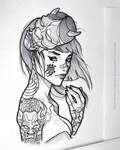 Japan Tattoo Design, Tattoo Design Drawings, Tattoo Sketches, Cute Tattoos, Body Art Tattoos, Girl Tattoos, Sleeve Tattoos, Japanese Girl Tattoo, Japanese Tattoo Designs