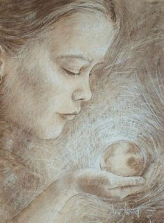 """""""The Future"""". Conte crayon drawing by Anne  Jankowski."""