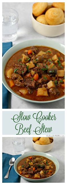 This Easiest Ever Slow Cooker Beef Stew from CookingInStilettos.com is a must for winter!  Warm and comforting, this slow cooker beef stew recipe will be a family favorite! via @CookInStilettos