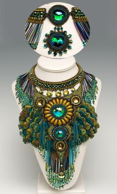 Bib-Style Necklace: Swarovski Elements, Seed Beads, Peacock Feathers / Fire Mountain Gems & Beads