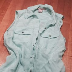 """Seafoam Green forever 21 Tank Worn once seafoam green heavier tank from forever 21.  Has gold buttons and is about 31"""" in length. Forever 21 Tops Button Down Shirts"""