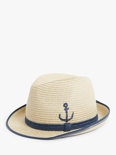 John Lewis Boys Blue Flower Straw Summer Trilby Hat M//L Brand New RRP £10