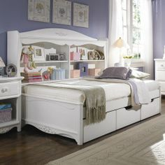 full size daybeds | Lea Industries Haley Full Size Platform Bed with Bookcase Unit - Value ...