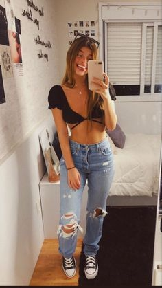 Simple Outfits, Trendy Outfits, Summer Outfits, Cute Outfits, Casual Date Outfit Summer, Teen Fashion Outfits, Look Fashion, Girl Outfits, Pinterest Girls