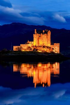 Eilean Donan Castle at blue hour.