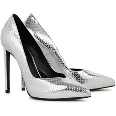 Saint Laurent Silver python-effect leather pumps (€550) ❤ liked on Polyvore featuring shoes, pumps, leather pumps, leather slip-on shoes, slip-on shoes, pointed toe pumps and leather slip on shoes