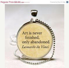 Leonardo Da Vinci Quote Art Is Never by MissingPiecesStudio