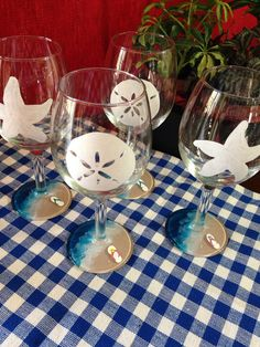 Hand Painted Beach Theme 11oz. Wine Glasses on Etsy, $20.00