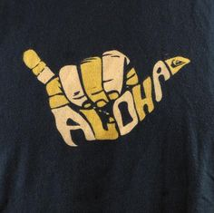 Aloha Quiksilver Shaka Sign Men T-shirt Medium Black Hang Loose Hand Surf Logo