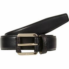 Brioni Leather Belt with crocodile trim