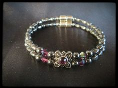 Amethyst Flower Double Magnetic Bracelet $24.00