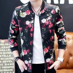 Fashion leaf flower bomber jacket for men black jacket coat