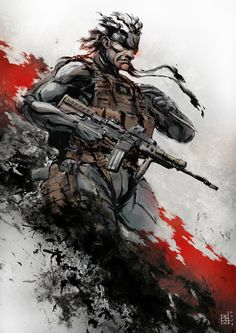 Old Solid Snake (Metal Gear Solid) by *MarcWasHere video-games Snake Metal Gear, Metal Gear Solid Series, Gray Fox Metal Gear, Metal Gear 4, Big Boss Metal Gear, Metal Gear Games, Video Game Art, Video Games, Game Character