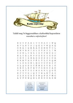 Nyomtatható szókereső rejtvény - Kalóz bulira-page-001 Dysgraphia, Dyslexia, Birthday Party Games, Math For Kids, Special Education, Elementary Schools, Language, Classroom, Teaching