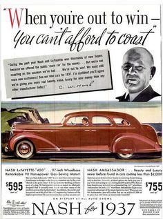 Vintage Advert - Nash Lafayette 400 & Ambassador Motor Cars for 1937 - Life Vol 1 Nov 1936 Depression Support Groups, Car Advertising, Life Magazine, Vintage Cars, The Past, Books, Automobile, Blood Test, American