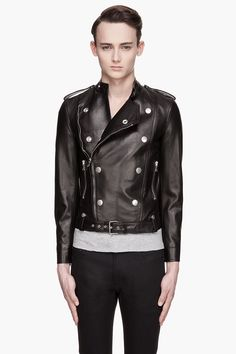 SAINT LAURENT //    Black leather double-breasted jacket