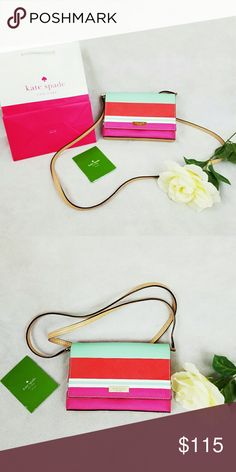 KATE SPADE CROSSBODY BAG Kate spade crossbody stripe bag. Brand new. Excellent spring color bag style. Magnetic snap closure.   Strap drop length: 22 inches  Width: 7 1/2 inches Height: 5 1/2 inches  Depth: 1 inch kate spade Bags Crossbody Bags