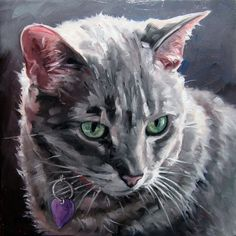 """Salt & PEPPER Kitty, CUSTOM Pet Portrait Oil Painting by puci, 8x8"""". NOT AVAILABLE BY CHRISTMAS."""