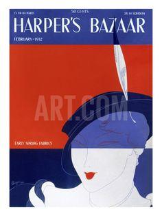 Harper's Bazaar, February 1932 Art Print at Art.com