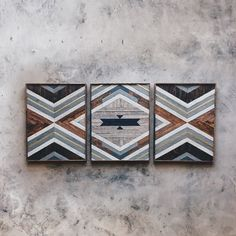 "Rachel Baize - Wall Art - (3) 22.5""x30"" Made from reclaimed house wood from Nashville, TN & textured brass"