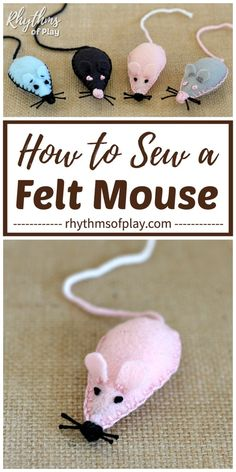 Felt Mouse Plush Toy - Teach children how to sew their own pocket pet mouse with this easy sewing project idea. Felt pets like these cute felt mice, make a grea Diy Cat Toys, Homemade Cat Toys, Diy Mouse Toys, Pet Toys, Kids Crafts, Mouse Crafts, Cat Crafts, Kids Diy, Decor Crafts
