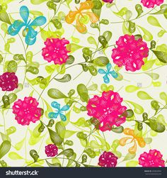 Vector retro elegance seamless pattern Butterfly and Flower