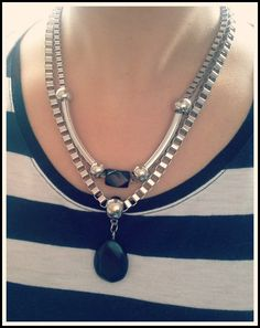 2 Broke Girls Necklace In Gray Pearls And Antique Silver