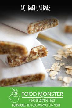 No-Bake oat bars! no-bake oat bars! Vegan Lunch Recipes, Vegan Breakfast Recipes, Dog Food Recipes, Snack Recipes, Vegan Sweets, Snacks, Jamie Oliver, Gluten Free Desserts, Dairy Free Recipes