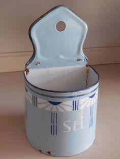 Antique French Enamelware SALT BOX  - ART DECO style 1920