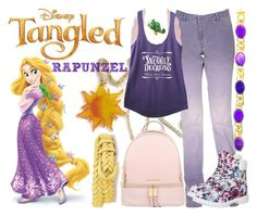 """""""Rapunzel"""" by janastasiagg ❤ liked on Polyvore featuring Disney, Charlotte Russe, Timberland, MICHAEL Michael Kors, Talbots, disney, disneybound, Disneyprincess and disneyinspired"""
