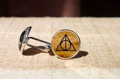 Deathly Hallows Always cufflinks, Harry Potter  wedding cuff link, glass dome cuff links, gift for him, nekel free by Blueskymood on Etsy https://www.etsy.com/listing/244935729/deathly-hallows-always-cufflinks-harry