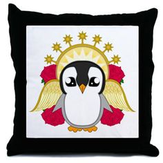 Angelguin Throw Pillow #Penguin #Christmas #Xmas #Festive #Kawaii #Angel #Cute #Halo #Winter #Gift #Present #ChristmasPresents #Merry Christmas #Roses #CafePress