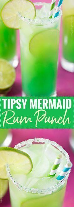 Tipsy Mermaid Rum Punch ~ 8 oz Spiced Rum, Coconut Rum, Splash of Blue Cura. Drinks Alcohol Recipes, Non Alcoholic Drinks, Bar Drinks, Beverages, Rum Punch Recipes, Margarita Recipes, Bartender Drinks, Rum Recipes, Recipes