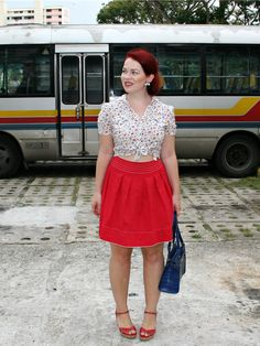 The Belted Pear | button-up | tied crop top | red skirt | vintage | retro | summer fashion