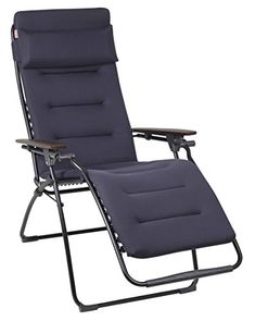 Lafuma gepolsterter Relax-Liegestuhl, klappbar und verstellbar, Futura Air Comfort, Acier (Schwarz), LFM2413-6135 Lafuma