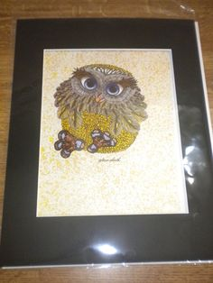 70s Owl w Blue Eyes Lithograph Print sealed matted by Craftyology, $60.00