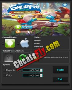 Smurfs Village and the Magical Meadow Hack Cheats Features: Unlimited Coins Hack Add Magic Acorns Hack Script, Smurf Village, Cheating, Smurfs, Ios, Android, Hacks, Magic, Script Typeface