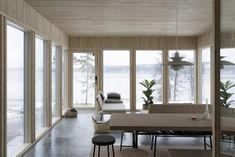 The new addition is outfitted with a sofa, table, stools, and benches from the Ilse Crawford collection for Ikea.